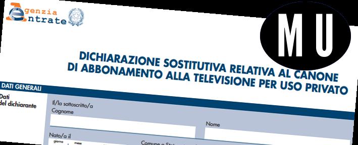 MODELLO CANONE RAI (AGGIORNAMENTO MODELLO)
