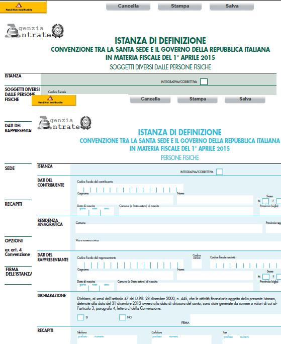 Convenzione Italia e Vaticano in materia fiscale: i modelli editabili